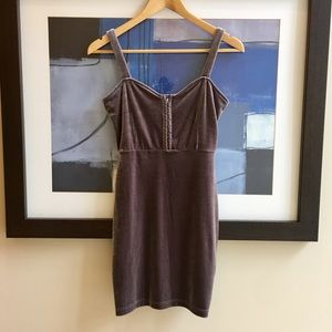 H&M Velvet Bodycon Corset Mini Dress Mauve 6/ M
